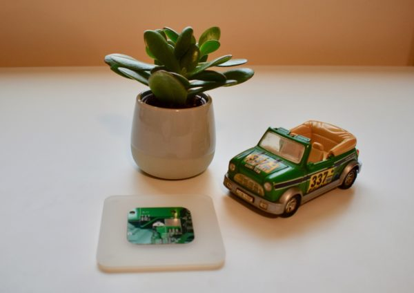 Coaster- White Acrylic and Green Circuit Board