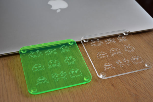 Green and Clear Space Invader Coasters