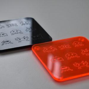 Orange and Black Space Invader Coasters