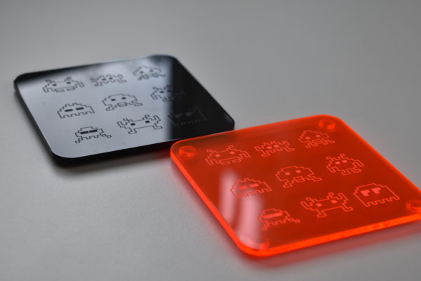 Orange and Black Space Invader Coasters