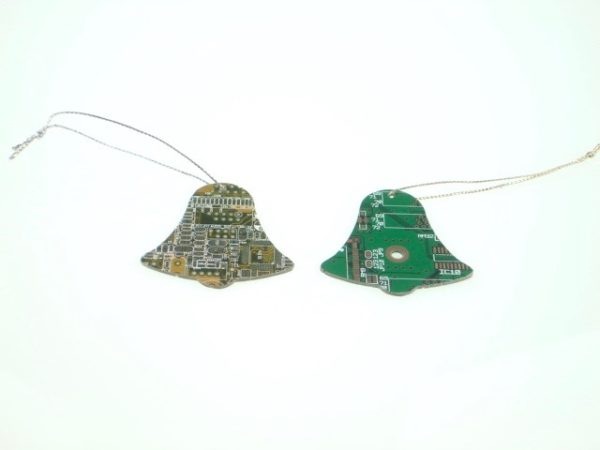 Circuit Board Bell Gold and Green