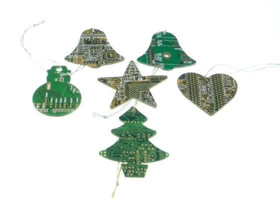 Circuit Board Decorations x 5