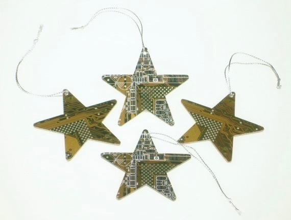 Circuit Board Star Decoration x 4