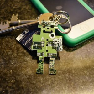 Circuit Board Robot Key Chain Green