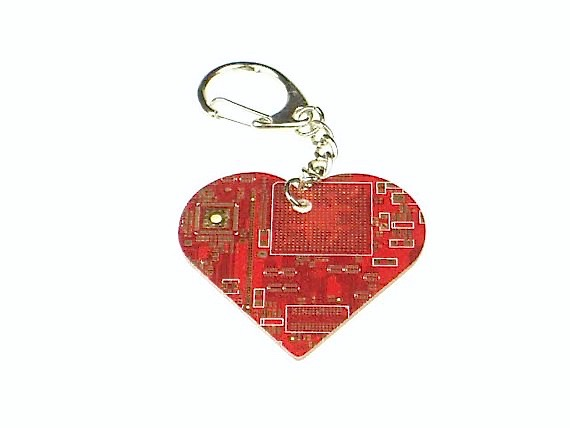 Circuit Board Heart Key Chain
