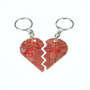 Circuit Board Broken Heart Key Chain