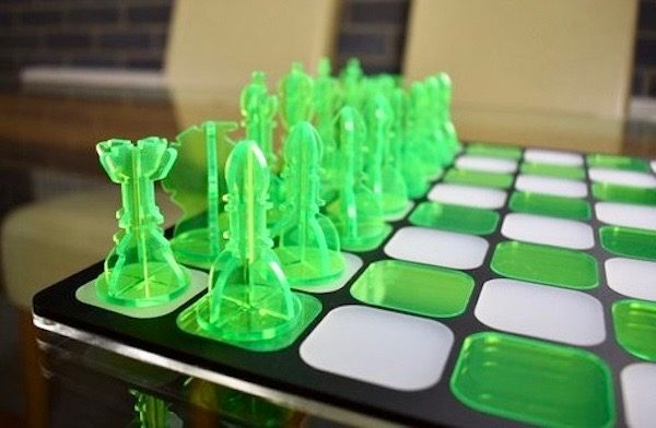 Acrylic Chess Set- Neon Green & Crystal Clear