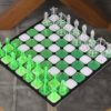Acrylic Chess - Neon Green & Crystal Clear